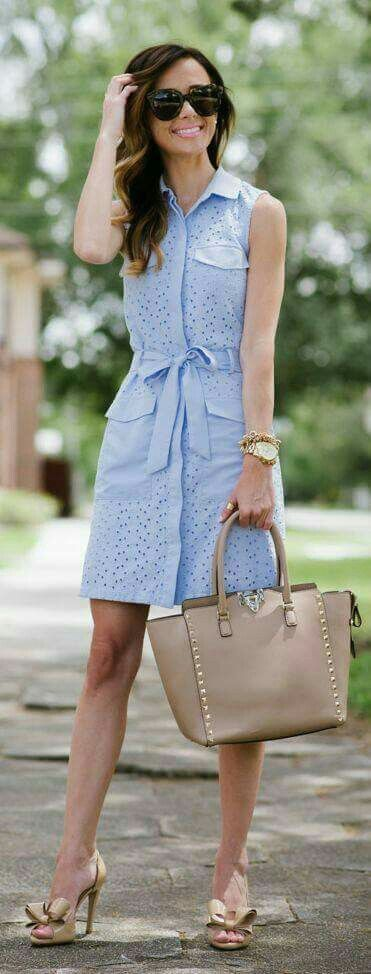 Cute blue dress.