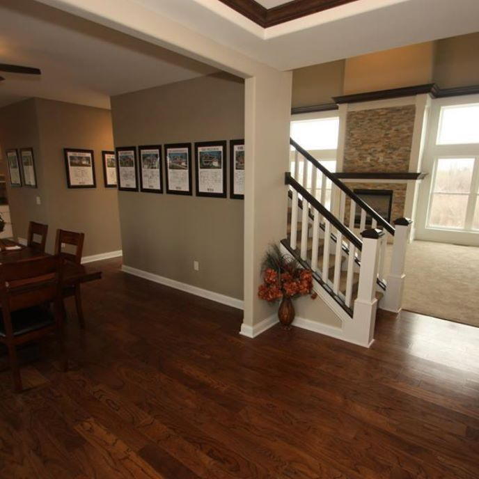 Its Time to Dine | ProSource Wholesale    Hardwood floors add warmth to a gray dining room.