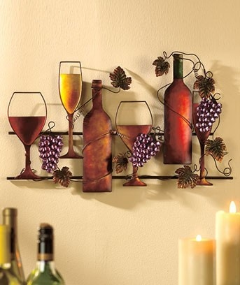 Metal wine art hanging grape grapevines glass bottle home for Wine home decorations