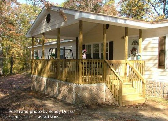Gable Roof on Mobile Home Front Porch Design (By Ready Decks®) for Front-Porch-Ideas-And-More.com