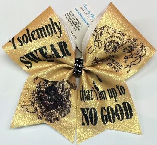 Bows by April - I Solemnly Swear That I Am Up to No Good Harry Potter Glitter Cheer Bow, $20.00 (http://www.bowsbyapril.com/i-solemnly-swear-that-i-am-up-to-no-good-harry-potter-glitter-cheer-bow/)