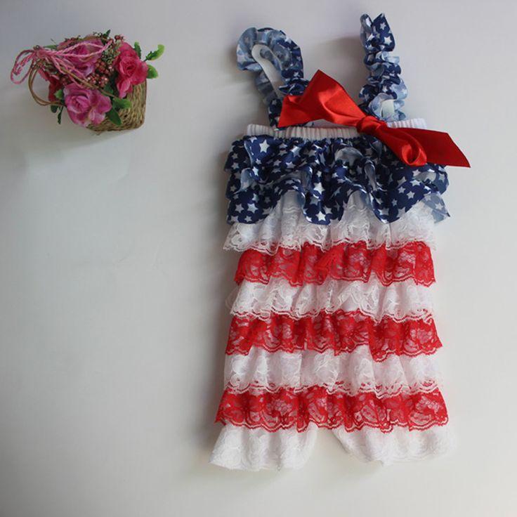 4th July  patriotic  baby  lace Petti   romper  Jumpsuit Infant children clothes 10PCS/lot