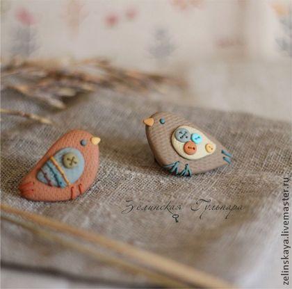 Броши ручной работы. Ярмарка Мастеров - ручная работа Теплые птички. Комплект брошей. Handmade.