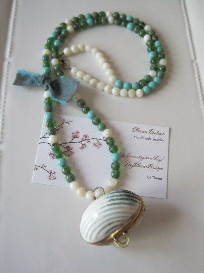 Ocean View Necklace with Shell Box Charm. $35.00, via Etsy.