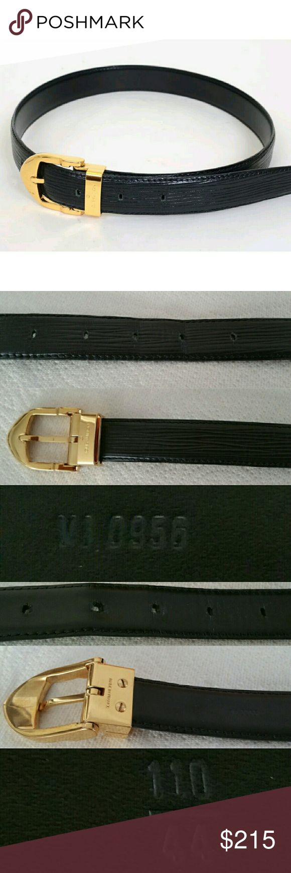 "💯Authentic Louis Vuitton Black Epi Leather Belt Authentic Louis Vuitton black and gold plated Epi leather belt. Date Code	VI0956. Hardware engraved with Louis Vuitton and made in France. Total Length 75cm / 29.5"", width 2.5cm. Waist size 110/44 EU, 22""- 26"" US (see pic), adjustable with 5 notches. Used a few times. Slightly lack of luster on hardware, some signs of wear on holes. Retail price $500 plus tax. NO TRADES! Lower $ thru 🅿🅿✔Ⓜercari✔ Louis Vuitton Accessories Belts"