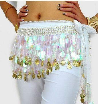 CEINTURE DANSE ORIENTALE / FOULARD JETONS SEQUINS OR danse du ventre BLANC: Amazon.fr: Vêtements et accessoires
