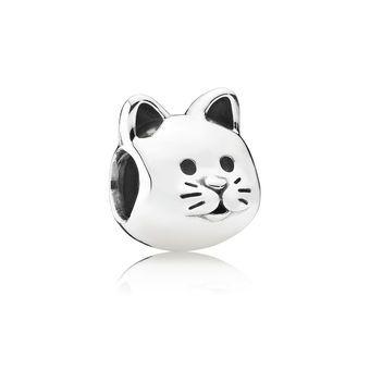 Cute Cat Silver Charm