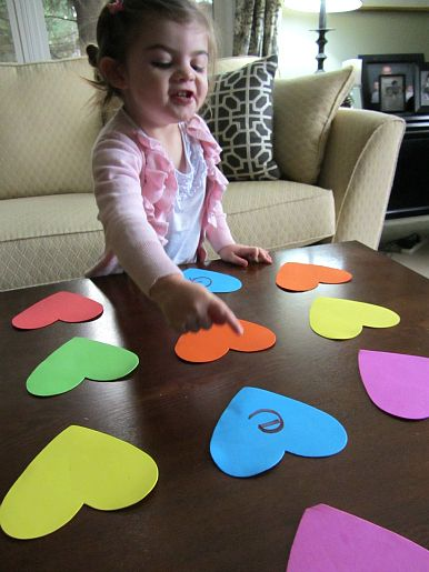 heart shaped letter memory and match game