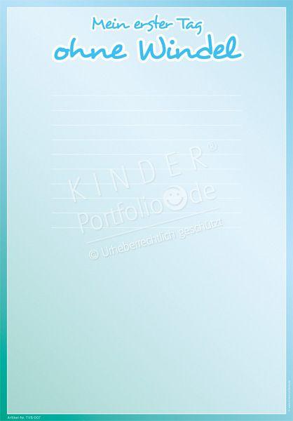 """Kindergarten Portfolio Vorlage """"Mein erster Tag ohne Windel"""""""