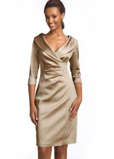 Attractive Champagne V-Neck A Line Dress - in green?: Mother Of The Bride, Wedding Ideas, Stretch Satin, Bride Dresses, Kay Unger, Unger Stretch, Sheath Dresses, Satin Sheath