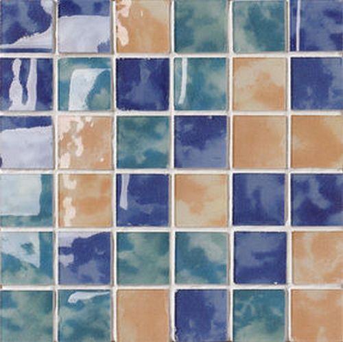 "#Settecento #Musiva Mix "" C "" Blu-verde-giallo 4,5x4,5 on grid 28,6x28,6 cm 100103 | #Glas on ceramic | on #bathroom39.com at 156 Euro/sqm | #mosaic #bathroom #kitchen"