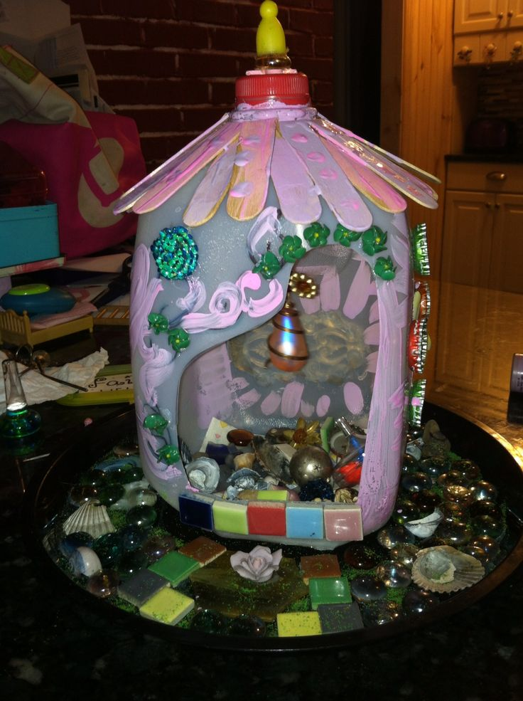 fairy house from milk jug