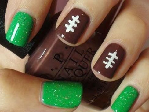 I'm totally doing this for the Seahawks season - but just the one football nail.
