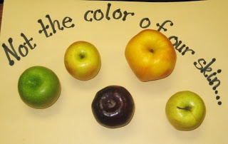 First Grade Wow: Not the color of our skin... and Inference: All the apples looked different!  I then proceded to cut the apples in half cross-ways to show the kids that each apple, no matter the shape, size or color, has a star on the inside!  They were cheering as I made my way through each apple!  We then cheered that each of us is a star!!  Valuable lesson for all!!