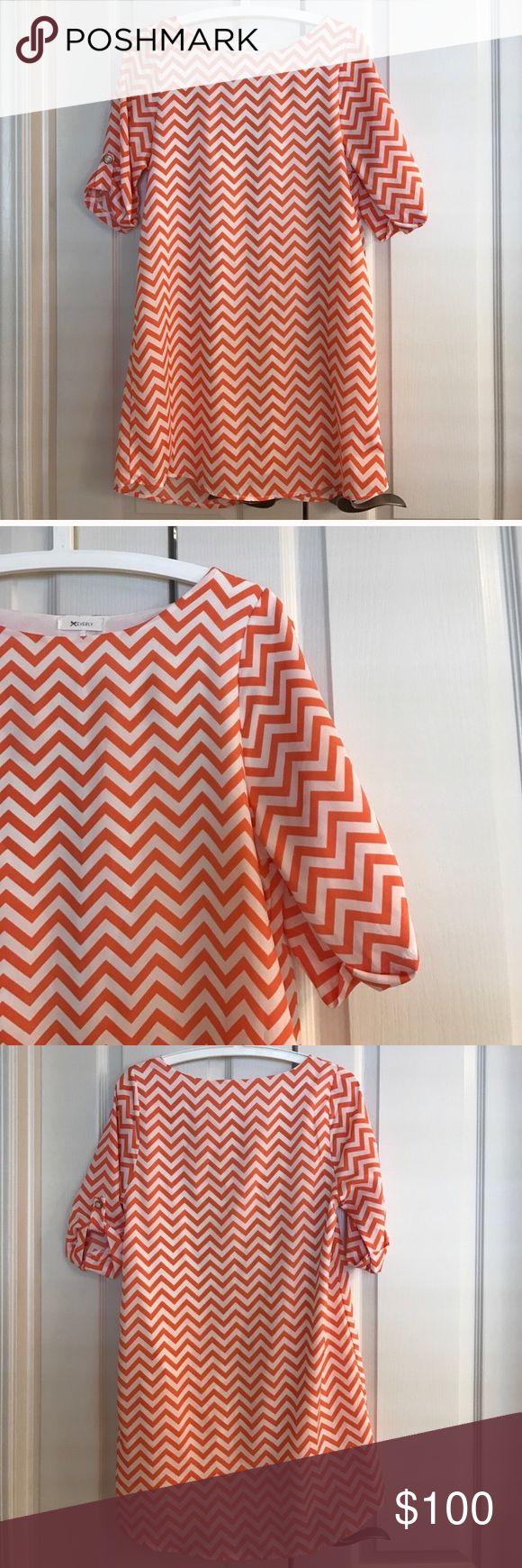 Size S Everly orange chevron shift dress Size S Everly orange chevron shift dress: polyester Everly Dresses
