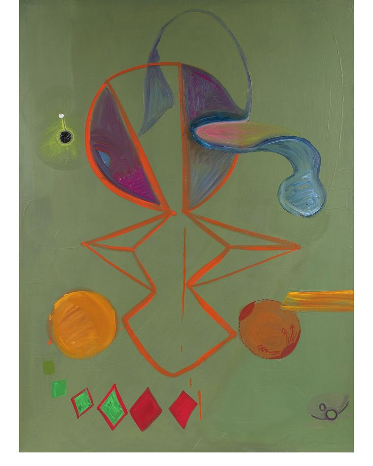 """Oil on canvas, unframed.  36"""" x 48""""  Origin: San Francisco, California  Condition: Vintage.  This  1971 oil on canvas abstract is by Abstract Surrealist San Francisco artist Michael di Cosola (1929-2010). Di Cosola studied at the Chicago Art Institute before moving to the Bay Area to study at the California College of Arts and Crafts in Oakland. He had a studio in North Beach during the height of the neighborhood's art scene and exhibited at several Bay Area art galleries in the 196..."""
