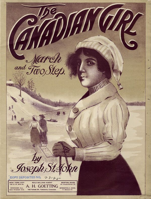 Illustrated cover of the sheet music for THE CANADIAN GIRL, by Joseph St. John