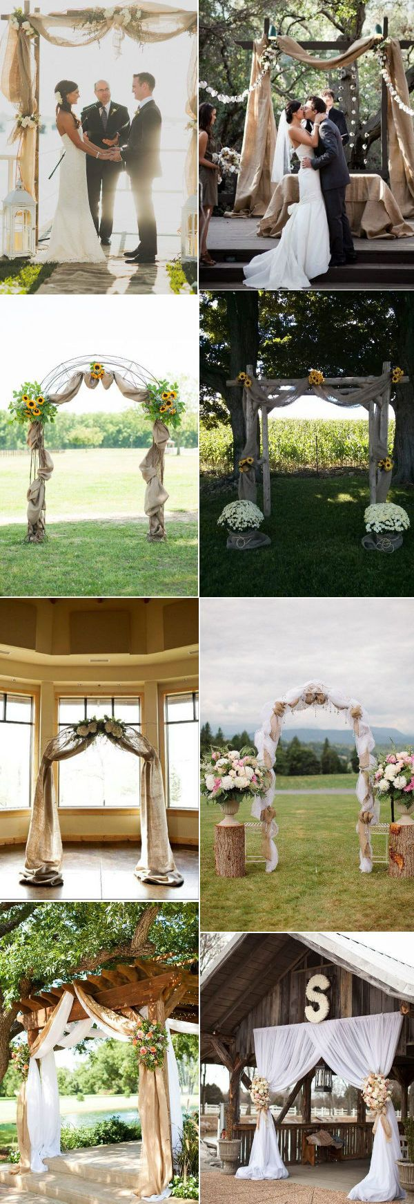 romantic burlap and lace wedding arches