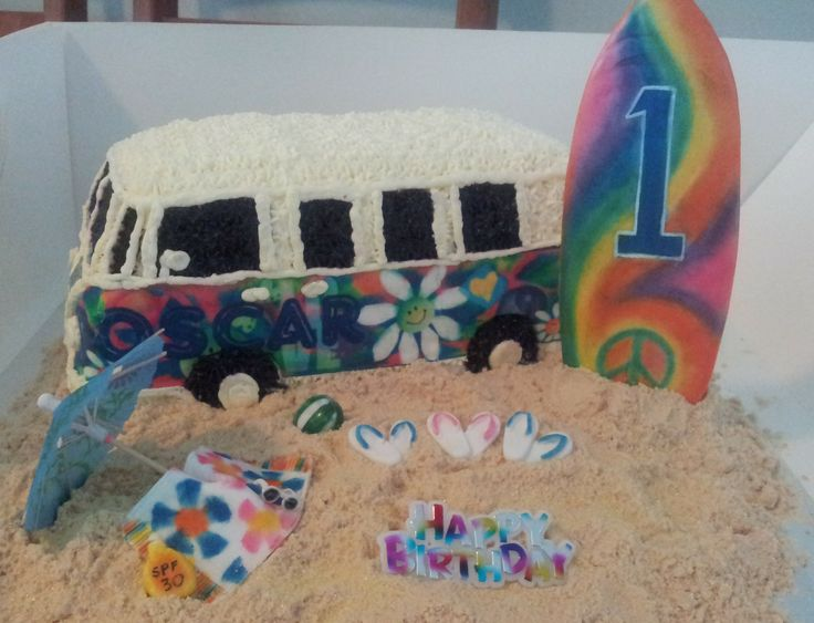 Cute VW combi van with edible image side decals, surfboard, towel, umbrella etc and lots of 'sand'