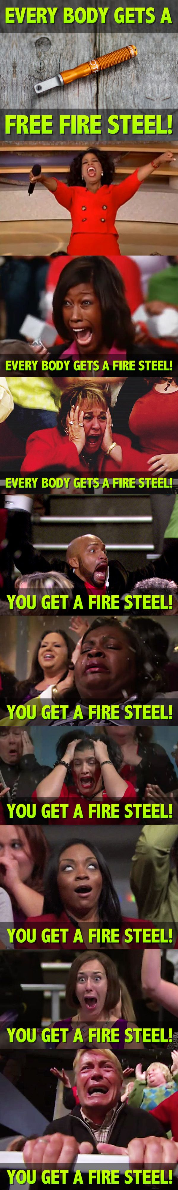 Have you claimed your FREE waterproof fire steel yet?? If not... what are you waiting for?? This awesome waterproof fire steel retails for as much as $36.99!! Claim yours for FREE today before they are gone!! Limited time offer!! firesteel.equip2survive.com