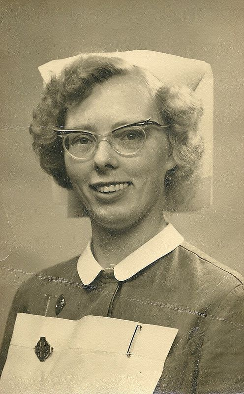 "Unidentified Nurse 1960s | ""She appears to be wearing her GNC badge and what might be a badge for the City General Hospital Sheffield."""