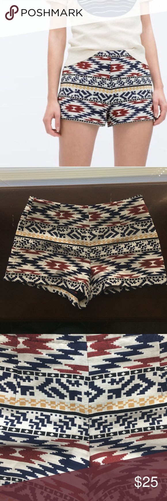 Zara tribal shorts Never worn. I work as a flight attendant so please bear with me to get these items shipped out. I will do it as fast as I can. I have priced lower to acknowledge your wait time. My boyfriend will most likely ship for me. Thanks!! Zara Shorts