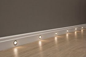 Baseboard lights - perfect for hallway or home theater. (I wouldn't put them so close together, though.)