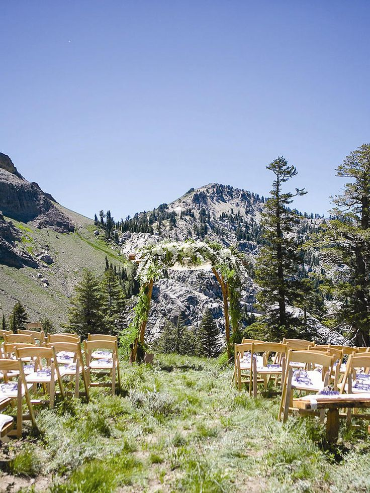 The rocky plains of Squaw Valley Stables in California provide one of the most beautiful mountainside wedding locations for newlyweds who love nature.