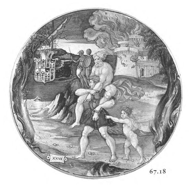 Nicola di Grabriele Sbraghe da Urbano (ca. 1480-1537/38) Service of Isabella d'Este (1474-1539), Bowl with the legend of the flight of Aenas, Anchises and Asconius Italy, Urbino, ca. 1524-1525, Majolica a istoriato, painted in polychrome, D. 24 cm Private collection