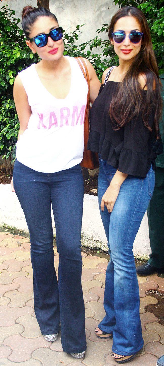Kareena Kapoor Khan and Malaika Arora Khan strike a pose for the cameras after Sunday brunch at Olive Bar and Kitchen in Mumbai.