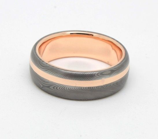 Damascus and Rose Gold. A wedding band with a difference. #rohanjewellery #rohanmilne #leederville #handcraftedjewellery #damascus #rosegold