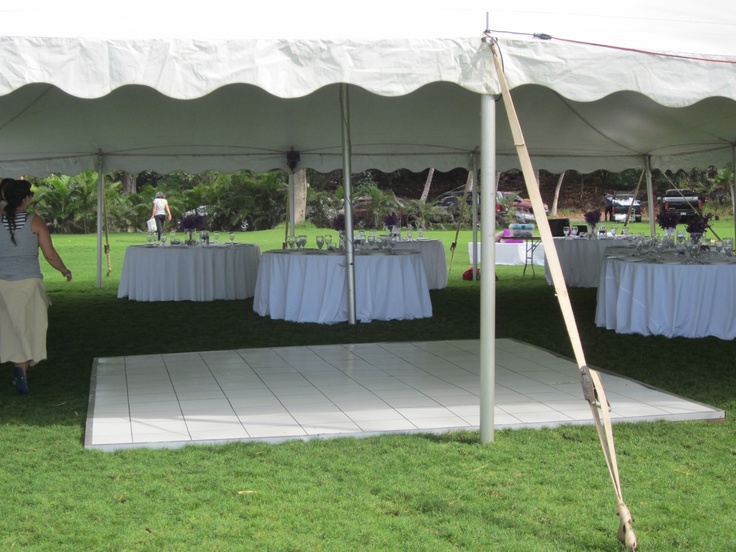 White Dance Floor Staked Tent Floor Length Linens On Round Tables Party Tent Outdoor Wedding Reception Tent Wedding