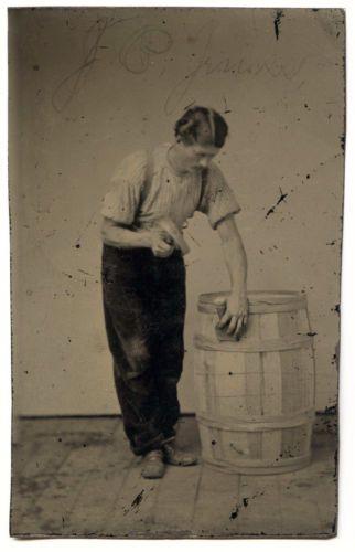 Great-Tintype-of-Barrel-Cooper-or-Hooper-at-Work-IDed-as-John-Jenks