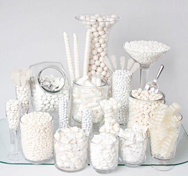 Inspiration photo. White candy buffet.