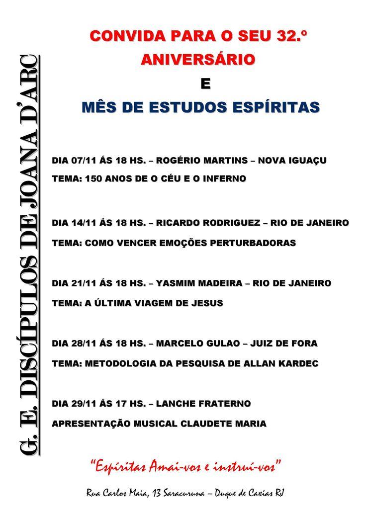 GE Discípulos de Joana D´Arc Convida para o seu 32º Aniversário e Mês de Estudos Espíritas - Duque de Caxias - RJ - http://www.agendaespiritabrasil.com.br/2015/11/01/ge-discipulos-de-joana-darc-convida-para-o-seu-32o-aniversario-e-mes-de-estudos-espiritas-duque-de-caxias-rj/