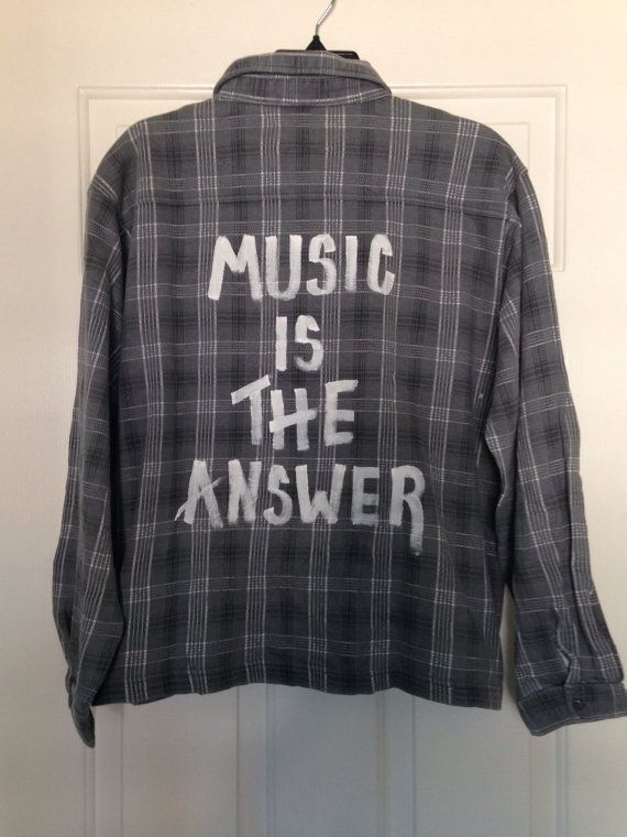Brand new Flannel shirt has been hand-painted with  Music Is The Answer Soft and comfy!    Made from a ladies large soft shirt runs very small