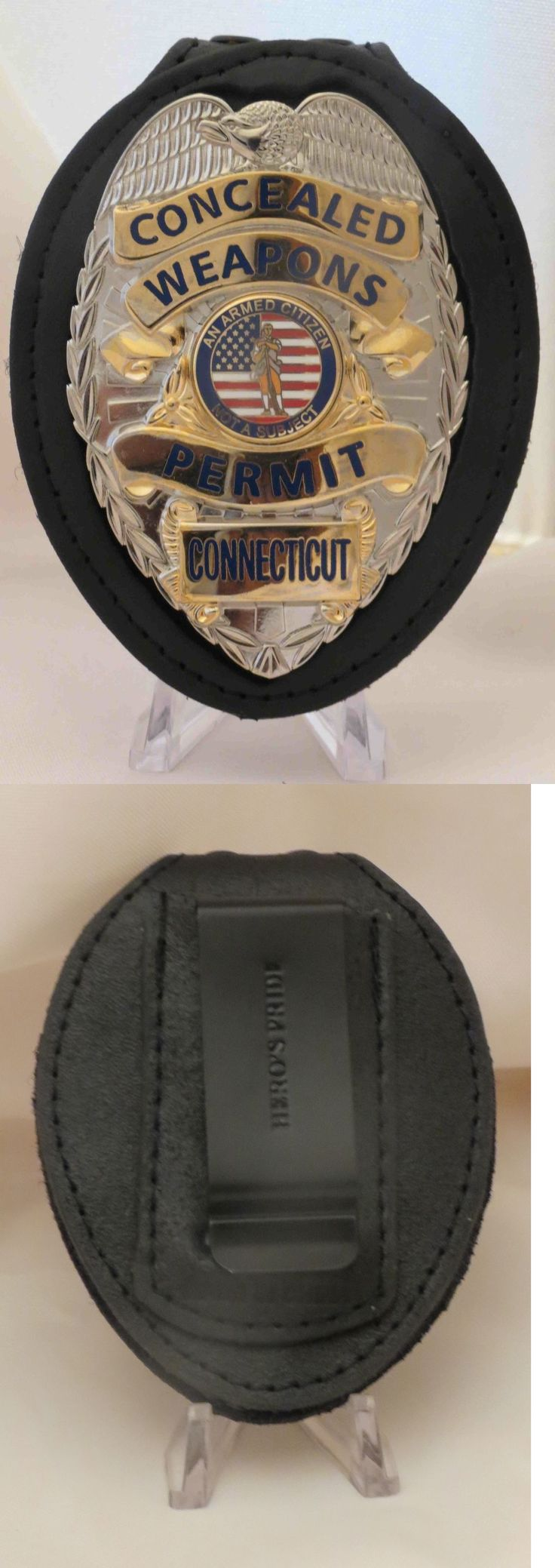 Other Hunting Holsters and Belts 22701: Concealed Handgun License Badge And Belt Clip Connecticut Silver Color -> BUY IT NOW ONLY: $40 on eBay!