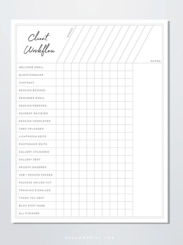 Photographer Client Workflow Chart Template Photography
