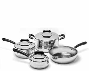 7 Piece Stainless Steel Cookware Set Contains the most useful and most often used pots in the kitchen. This basic cookware set is made to last for years, so that even as you grow your cookware collection, you will keep coming back to these essential pieces.