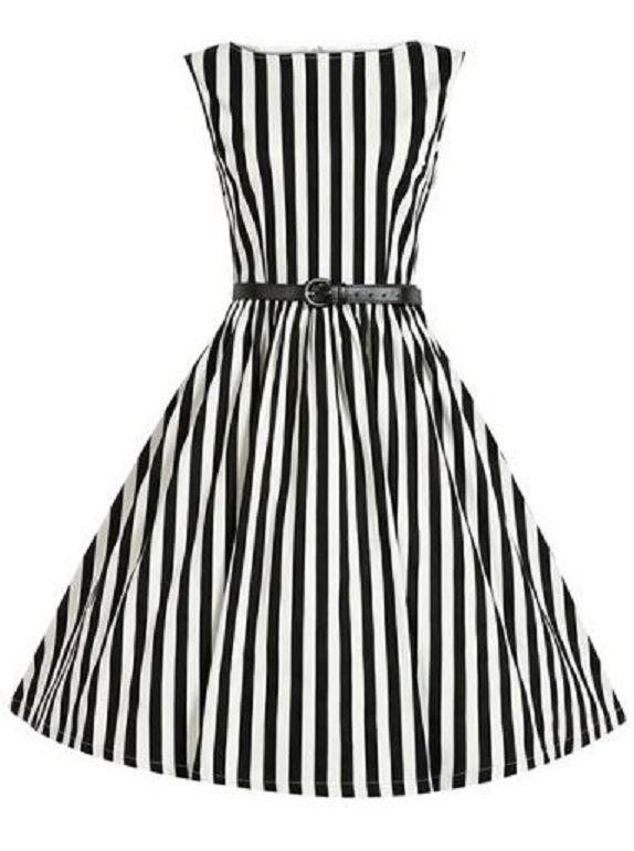 Black and White Stripe Retro Style Boat Neck Sleeveless Striped Ball Gown Dress For Women #Black #White #Stripe #Retro #Style #Dress #Fashion
