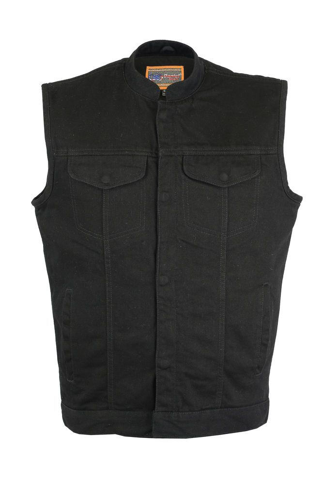 Mens Black Denim Motorcycle Concealed Carry Vest- ALL SIZES- NEW DEAL