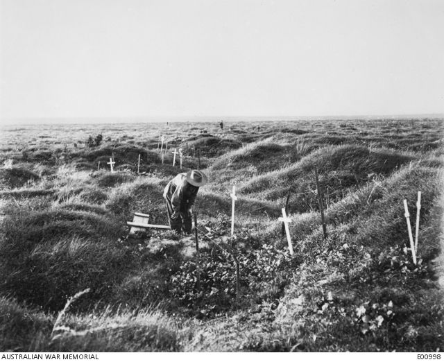 taken at France: Picardie, Somme, Albert Bapaume Area, Pozieres Area, Pozieres  View of scattered Australian graves along the OG1 line on the battlefield of Pozieres. Twelve months before the area was a scene of heavy fighting and devastation; but when the fighting passed, the ...