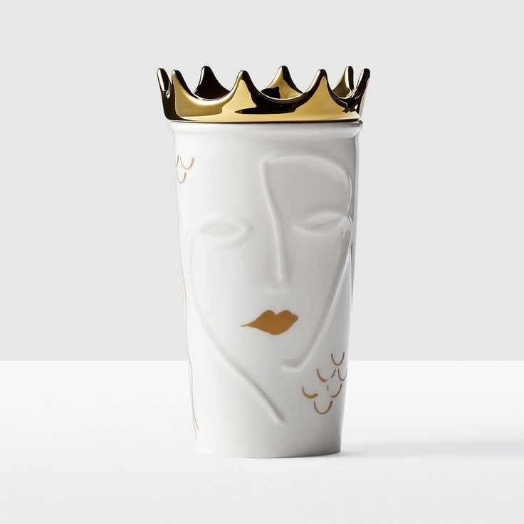 Siren with Removable Gold Crown Double Wall Traveler. One of our most unique creations, this traveler will spark conversation and keep your coffee hot.