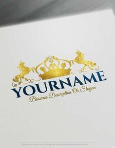 Create a logo Free - Free Logo Maker - Crown Unicorn Logo design Ready made Online Crest logo template Decorated with an image of a royal crown and a unicorn. Crown Unicorn logos great for branding luxurious and Elegance, cosmetics, spa, beauty products, fashion, etc. How to design free logo online? 1- Customize This logo with our free logo maker tool - Change