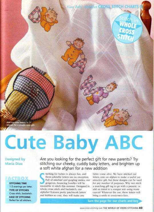 Cute Baby ABC The World of Cross Stitching  Issue 74 August 2003 Saved