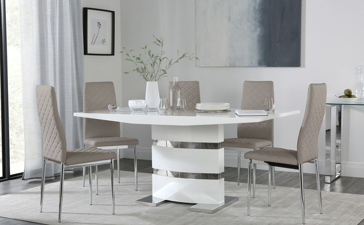 Komoro White High Gloss Dining Table With 6 Renzo Taupe Leather