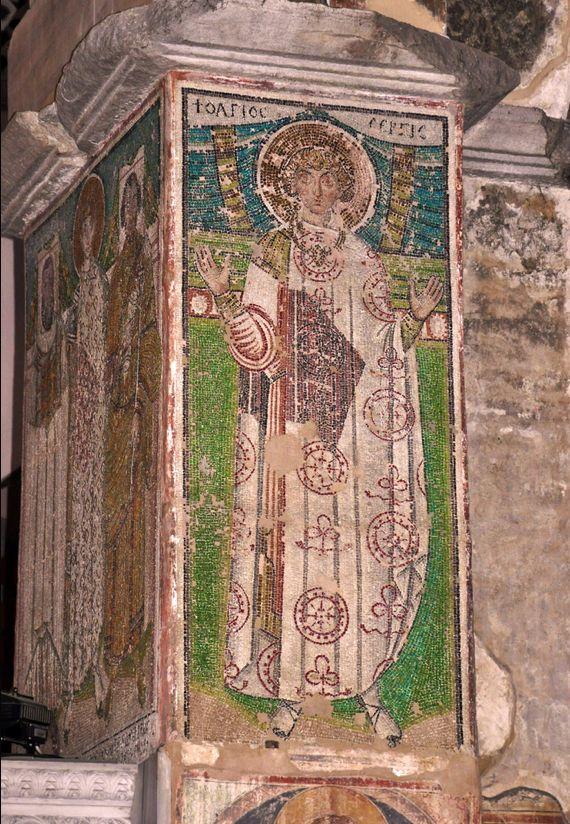 Basilica di San Demetrio, Tessalonica, Grecia. Il mosaico del VII secolo. San Sergio