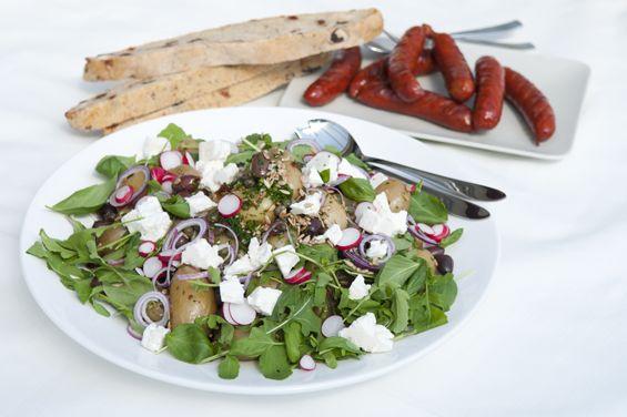 Grekisk potatissallad med grillad Chorizo - Fontana