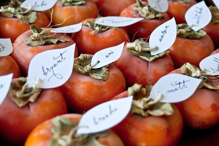 persimmons place card | edible place cards