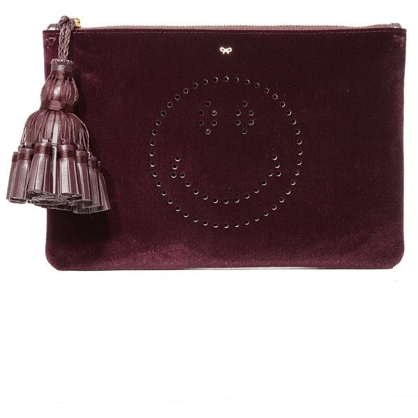 Anya Hindmarch Georgiana Smiley Clutch ($775) ❤ liked on Polyvore featuring bags, handbags, clutches, purple handbags, anya hindmarch purse, anya hindmarch, anya hindmarch handbags and purple purse